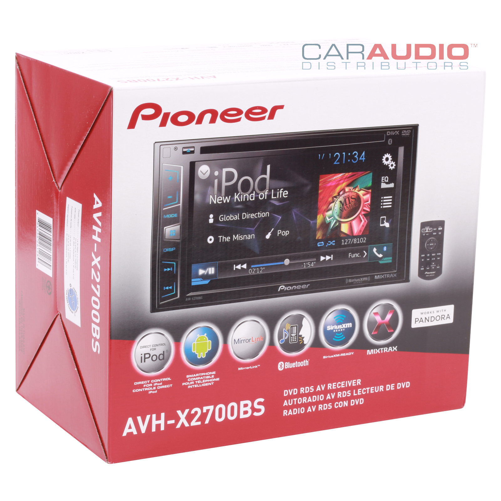 new pioneer avh x2700bs double din 6 2 dvd cd mp3. Black Bedroom Furniture Sets. Home Design Ideas